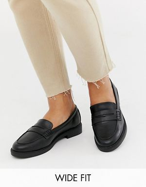 New Look Wide Fit loafers in black