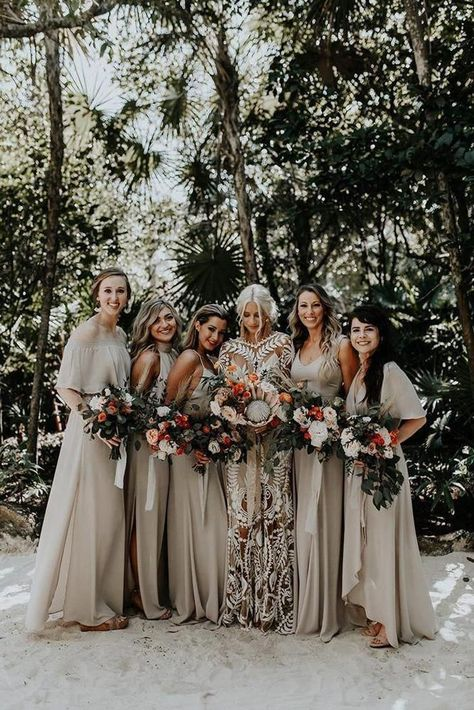21 Stylish Bohemian Wedding Look ❤ bohemian wedding look for bridesmaids in sage green dresses and protea bouquets brooke taelor #weddingforward #wedding #bride #bohowedding #bohemianweddinglook #bohemian wedding bridesmaids 24 Stylish Bohemian Wedding Look | Wedding Forward
