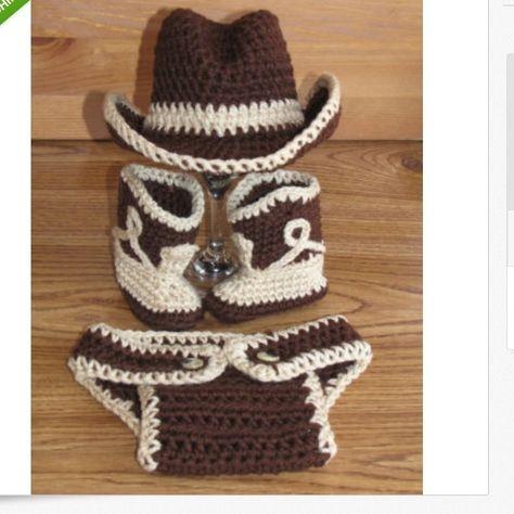 Newborn Baby Crochet Cowboy Hat Boots Photo Prop Set Outfit Diaper ... 254bc65eb08d
