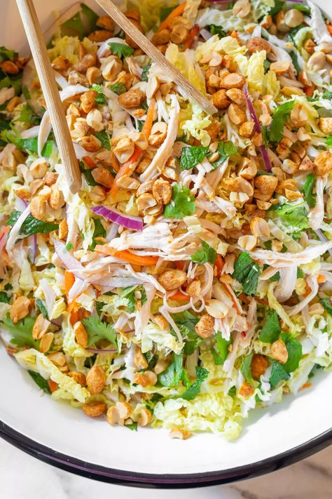 A light and healthy chicken and cabbage salad that is gluten free and paleo-friendly! #aspicyperspective #foodblog #foodie #instayum #hungry #thekitchn #onmytable #dailyfoodfeed #foodlove #foodpic #instafood #foodstagram #tasty #vietnamesechickensaladrecipe #chickensaladrecipe #chickensalad #vietnamesesalad #goiga #salad #cabbagesalad #vietnamese #thaichickensalad #chicken