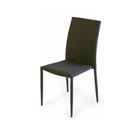 Finest kit sedie nere imbottite con struttura in metallo for Sedie nere ecopelle