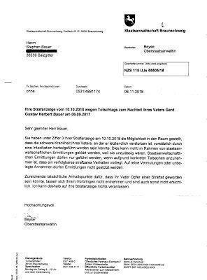 Stephanbauer38259 Antwortschreiben Der Staatsanwaltschaft Braunschwe Schreiben Antwort Tatsachen