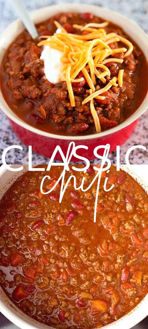 The Best Classic Chili – This traditional chili recipe is just like mom used to make with ground beef, beans, and a simple homemade blend of chili seasonings. Homemade Chilli Recipe, Chilli Recipes, Bean Recipes, Soup Recipes, Easy Chili Recipe, Easy Homemade Chili, Classic Chili Recipe, Easy Chili Soup Recipe, Simple Chilli Recipe