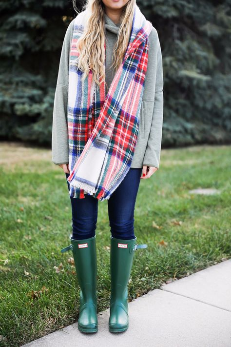 36f0565888b651 Christmas colored plaid scarf paired with my olive north face and faux fur  ear beanie!