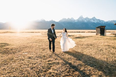 Sunset elopement pictures at Mormon Row in Grand Teton National Park outside of Jackson, Wyoming.