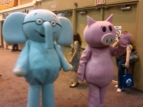 A rare, blurry photograph of Elephant and Piggie in the wild.