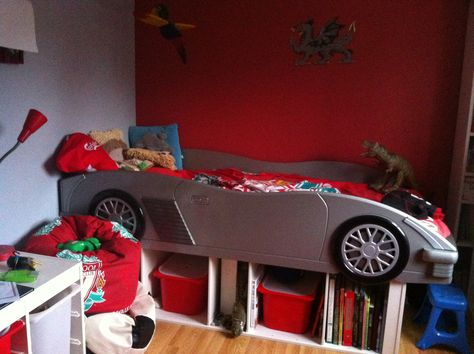 Pimped Up Car Bed Using Ikea Toy Storage Units For Under Bed Storage.  Reusing Unwanted