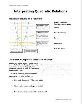 Interpreting Quadratic Relations Real Life Situations With