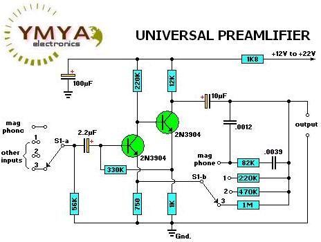 Universal Preamplifier Electronics Circuit Audio Amplifier Circuit Diagram