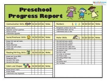 Image result for free printable preschool progress report template ...