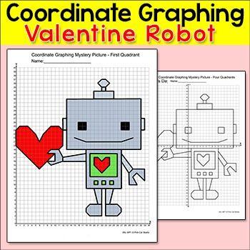 Valentine S Day Math Coordinate Graphing Mystery Picture Robot Coordinate Graphing Coordinate Graphing Mystery Picture Coordinate Graphing Pictures Valentine day coordinate graphing worksheets