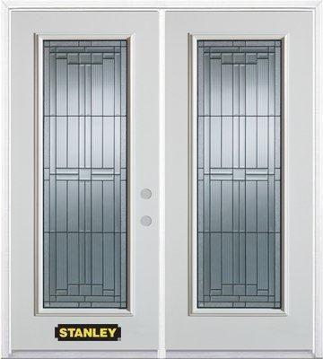 71 Inch X 82 375 Inch Seattle Zinc Full Lite Prefinished White Left Hand Inswing Steel Prehung Double Door With Astragal And Brickmould Doors Double Doors Steel Doors