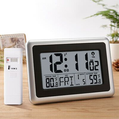 Details About Large Display Lcd Wall Clock Temperature Snooze Alarm With Outdoor Transmitter In 2020 With Images Outdoor Thermometer Clock Atomic Wall Clock