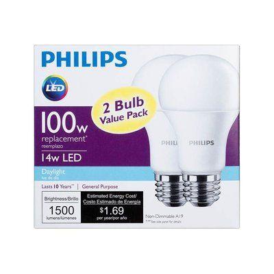 Philips 100 Watt Equivalent A19 Led Non Dimmable Light Bulb Daylight 5000k E26 Medium Standard Base Wayfair Led Light Bulb Led Lights Philips Led