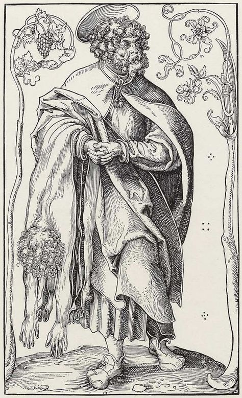 """Cranach the Elder (attributed, not signed)  St. Bartholomew , Woodcut, 31.5 x 18.8 cm, ca. 1512, München, Staatliche Grafische Sammlung, from a series """"Christ and the 12 apostels"""" (Christ with Cranach's sign)"""