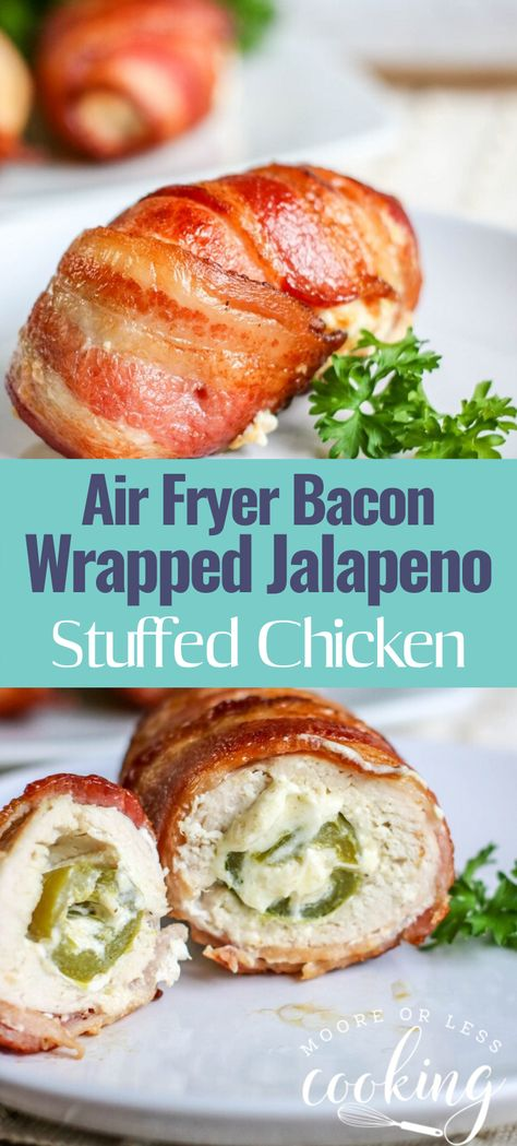 Air Fryer Bacon Wrapped Jalapeno Stuffed Chicken - Moore or Less Cooking. Air Fryer Bacon Wrapped Jalapeno Stuffed Chicken is a cinch to make in the Air Fryer. Flavorful Stuffed chicken breast filled with cheesy jalapenos wrapped in crispy bacon. Bacon Wrapped Jalapenos, Stuffed Jalapenos With Bacon, Stuffed Peppers, Bacon Wrapped Stuffed Chicken, Jalapeno Stuffed Chicken, Chicken Breast Recipes Healthy, Chicken Recipes, Clean Eating Salads, Air Fryer Healthy