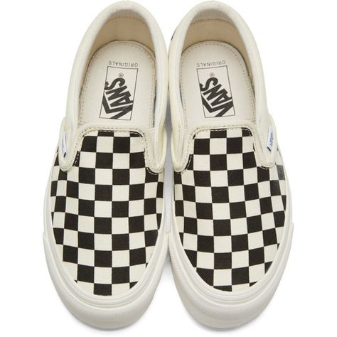 36e0bf0691 Vans Off-White and Black Checkerboard OG Classic Slip-On Sneakers (200 BRL)  ❤ liked on Polyvore featuring shoes