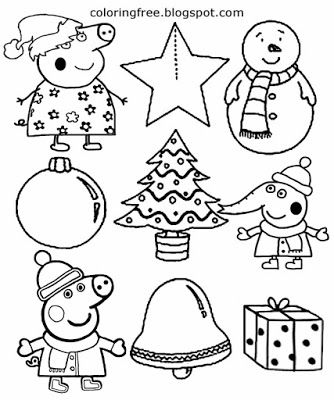 Xmas Tree Star And Bell Easy Coloring Christmas Images To Print Peppa Pig Activities For Early Ye Peppa Pig Coloring Pages Coloring Pages Winter Coloring Pages