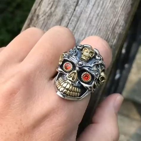 Red Cubic Zirconia Eyes Skull Ring Male Gold Adjustable Rings For Men Punk Gothic Jewelry