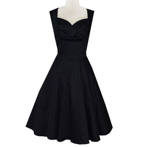 Women's 50s 60s black Vintage Dress, Retro Casual v neck knee length bodycon Dress.