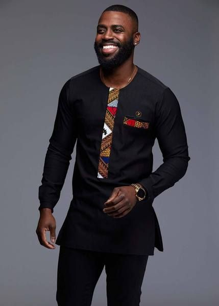 eca9c04e0 Men's Tops - Bakari Men's African Print Long Sleeve Trad Shirt (Gold ...
