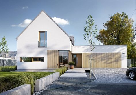 DOM.PL™ - Projekt domu DZW NOWOCZESNY 2 CE - DOM DW1-60 - gotowy projekt domu. Nowoczesny projekt domu z użytkowym poddaszem o wyrazistej pozbawionej okapów formie.