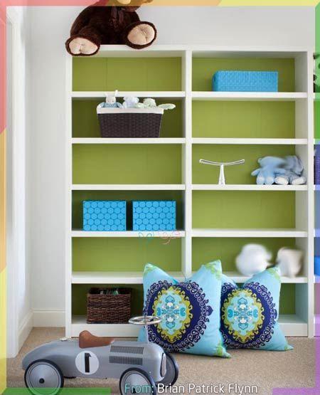 غرفة نوم اطفال بالرمادي والتفاحي Bedroom Green Shelving Unit Decor