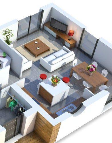Plan maison 3D - séjour | plan M en 2019 | Maison, Plan ...