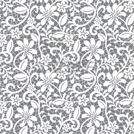 white seamless lace floral pattern on gray background  Stock Vector - 15307027