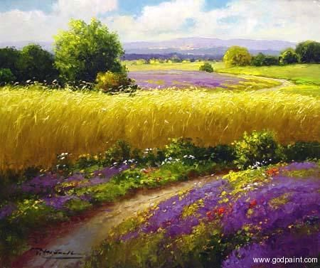 Field Sunflower Van Gogh Lavender Oil Painting Flower Field Oil Painting Sunflower Oil Painting Oil Painting Flowers Scenery Paintings Landscape Paintings
