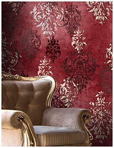 Haokhome 66111 Vintage Red Damask Wallpaper Rolls Crimson Https Www Amazon Com Dp B077sd64nb Ref Cm Sw R Pi Dp Red Damask Damask Wallpaper Wallpaper Rolls