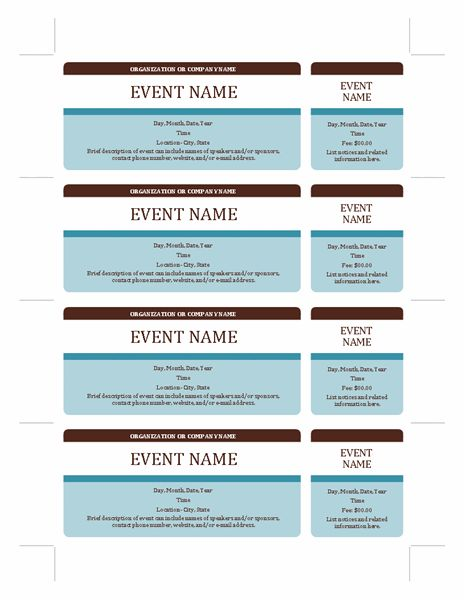 Event tickets - Templates - Office Fundraising Ideas - event template word