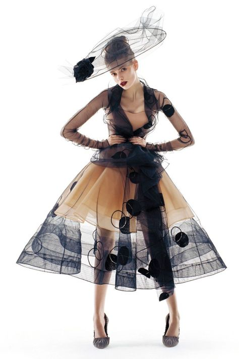 "Julia Stegner in Christian Dior Fall 2005 Haute Couture for ""From Paris, with Love"" by Patrick Demarchelier, Vogue UK October 2005"