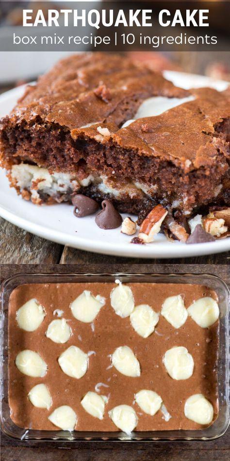 Earthquake Cake Starts With A Box Of German Chocolate Cake Mix