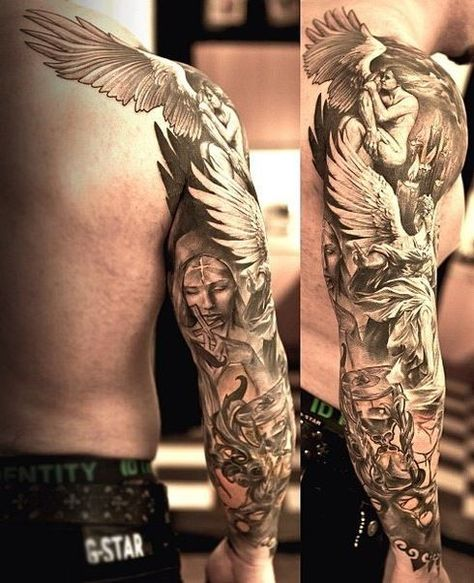 Good And Evil Sleeve Tattoos : sleeve, tattoos, Tattoo, Board, Ideas, Sleeve, Tattoos,, Tribal, Tattoos