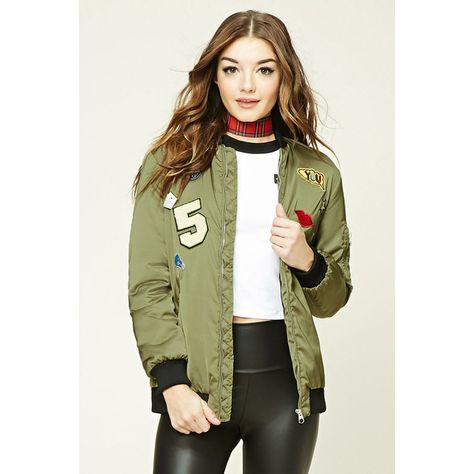 Forever21 Longline Patch Bomber Jacket ($31) ❤ liked on
