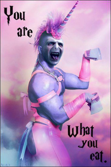 This combines my two favorite things: harry potter and that really weird picture of a guy dressed like a unicorn.