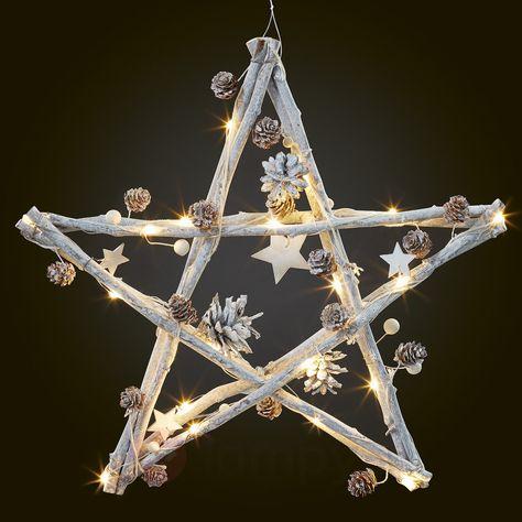 Ozdobiona drewniana gwiazda LED z szyszkami 4523429