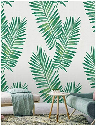 Haokhome 93024 Contact Paper Tropical Palm Peel And Stick Wallpaper Removable Green White Vin Peel And Stick Wallpaper Wall Decor Stickers Green Leaf Wallpaper