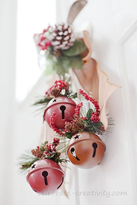 Adorable DIY holly and jingle bells door hanger. Love this!! #12dayofChristmas