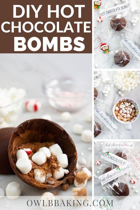 Chocolate Bomb, Hot Chocolate Bars, Hot Chocolate Recipes, Hot Chocolate With Marshmallows, Hot Chocolate Toppings, Hot Chocolate Gifts, Christmas Hot Chocolate, Hot Cocoa Recipe, Chocolate Diy