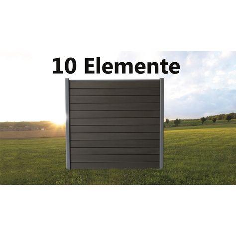 WPC Sichtschutzzaun Komplett-Set (mit Alupfosten) bestehend aus 10 x Elemente 180x180 cm inkl. Zubehör - Mondesi