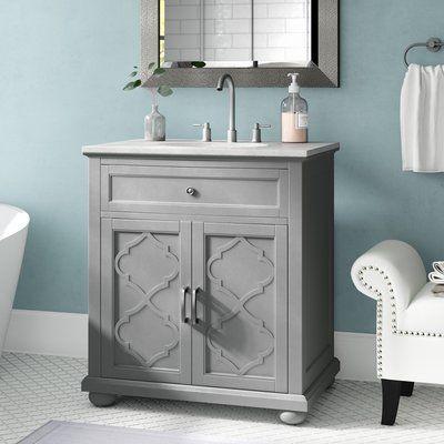 House Of Hampton Ali 31 Single Bathroom Vanity Set Base Finish Gray Single Bathroom Vanity 30 Inch Bathroom Vanity Shabby Chic Bathroom