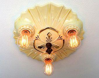 Antique Flush Mount Ceiling Fixture 1930 S Three Light Porcelain Bone China Deco N Vintage Ceiling Lights Antique Lighting Flush Mount Ceiling Light Fixtures