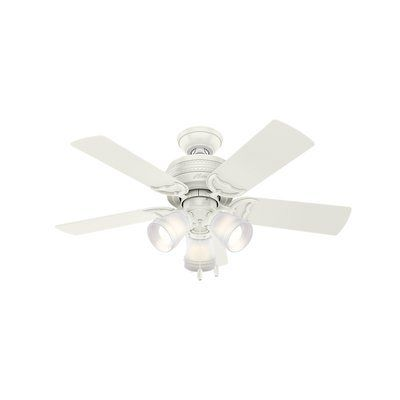 Hunter Fan 42 Prim 5 Blade Standard Ceiling Fan With Pull Chain Light Kit Included Wayfair 1000 In 2020 Ceiling Fan With Light White Ceiling Fan Ceiling Fan