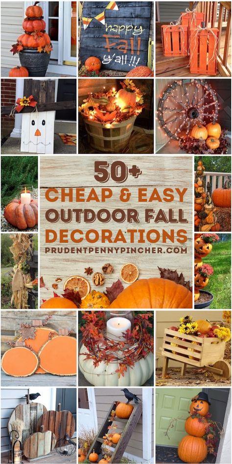 Diy Home Decor Rustic, Fall Home Decor, Autumn Home, Outdoor Fall Decorations, Fall Yard Decor, Fall Harvest Decorations, Fall Harvest Party, Diy Yard Decor, Seasonal Decor