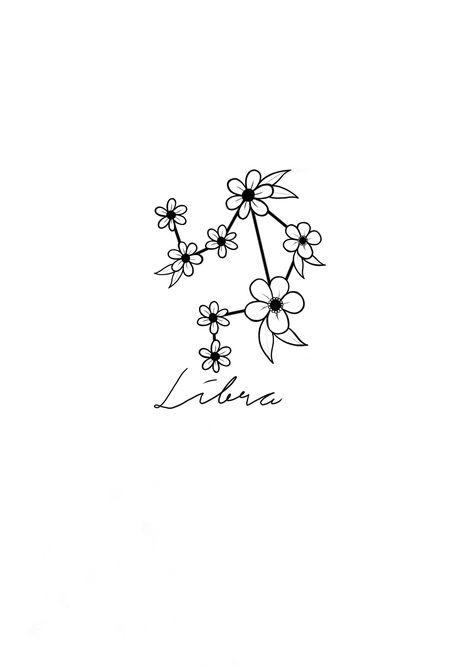 Libra constellation with a wild flower twist.