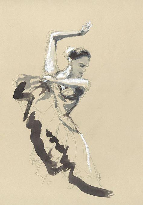 Dessin Danseuse De Flamenco Aquarelle Pastel Gras Decoration