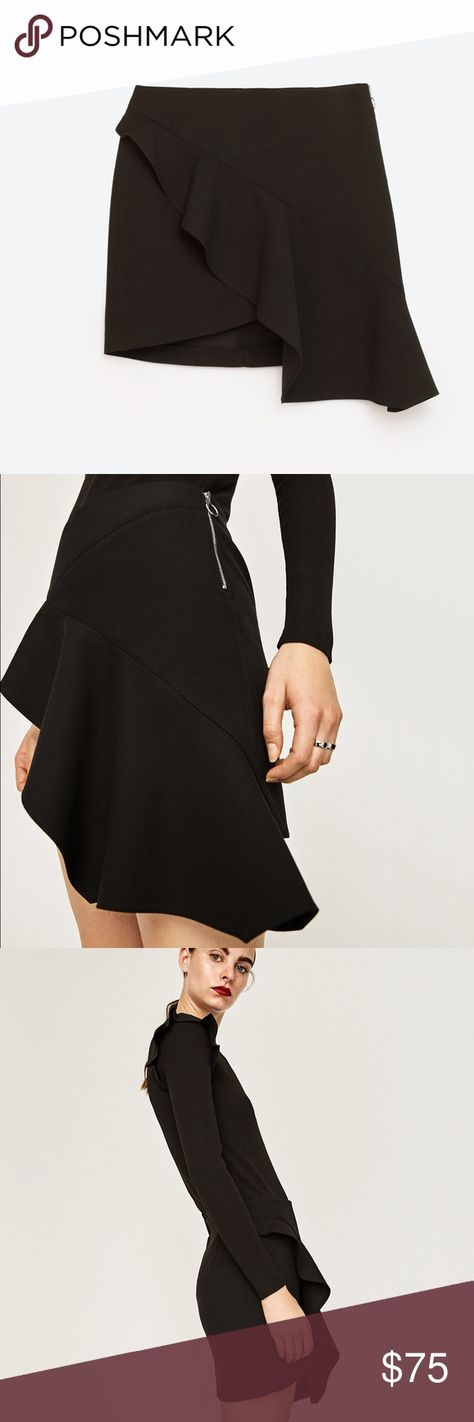 b3938f45b6 ZARA BLACK SEXY MINI SKIRT CROSS OVER DRAPED FRILL Brand new. Size XS Zara  Skirts