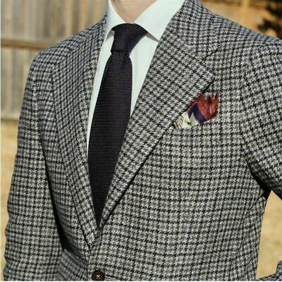British Style Men/'s Suits Houndstooth Tweed Formal Party Windowpane Tuxedos NEW